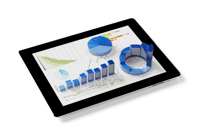 Finanzplanung mit App auf Tablet Computer